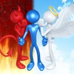 天使と悪魔に囁かれているイメージ