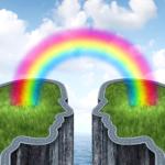 カップルイメージに虹がかかっている
