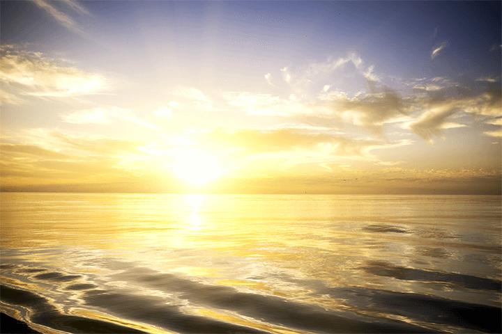 水平線に太陽が登っている